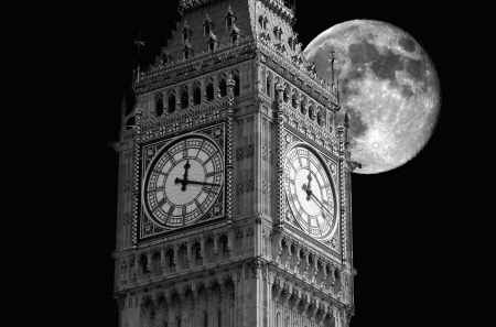 Big Ben against a big moon, black and white view