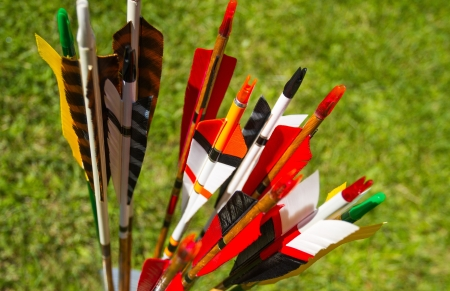 Colorful arrows for target archery in field Stock Photo