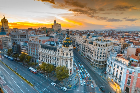 Panoramic aerial view of Gran Via street in Madrid in sunset, Spain  Europe