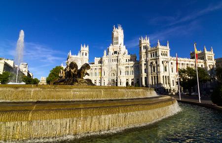 Cibeles Meydanı ve belediye Madrid, İspanya Stock Photo