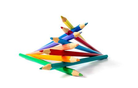 Bir el Kavramsal fotoğraf gibi sıktı renk kalemler