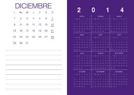 Modern 2014 vektör takvim İspanyolca Aralık