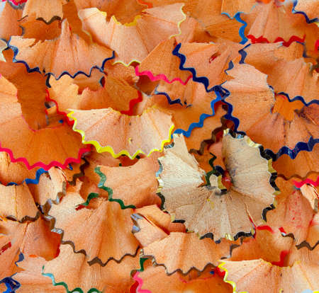 Closeup of a colorful pencil wood shaving photo