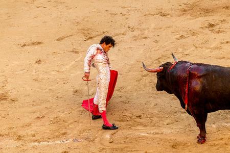 MADRID, İSPANYA - 30 Mayıs - Aksiyon miguel Abellan boğa güreşçisi, İspanya, 30 Mayıs 2014 ile, Madrid, Las Ventas boğa güreşi sırasında yer alıyor