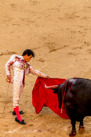 MADRID, SPAIN - MAY 30 - Action taking place during the bullfighting in Las Ventas, in Madrid, with MIguel Abellan bullfighter, Spain, May 30, 2014