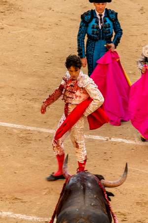 las ventas: MADRID, SPAIN - MAY 30 - Action taking place during the bullfighting in Las Ventas, in Madrid, with MIguel Abellan bullfighter, Spain, May 30, 2014