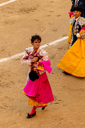 las ventas: MADRID, SPAIN - MAY 30 - Action taking place during the bullfighting in Las Ventas, in Madrid  Today MIguel Abellan bullfighter have cut off 1 ear, Spain, May 30, 2014