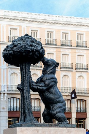 MADRID, SPAIN - JUNE 21 - New Apple Retail Store Opening in Sol square, with Statue of the Bear and the Strawberry Tree, in Madrid, Spain, on June 21, 2014
