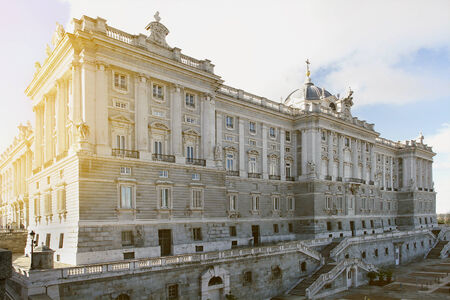 Royal Palace in Madrid, Spain at sunset