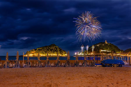 san sebastian: View during the fireworks of San Sebastian, Basque country, Spain Stock Photo