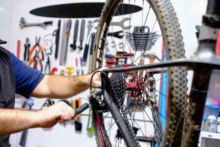 maintenance: Bicycle mechanic in a workshop in the repair process