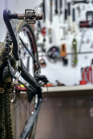 Bike on a workshop in the repair process