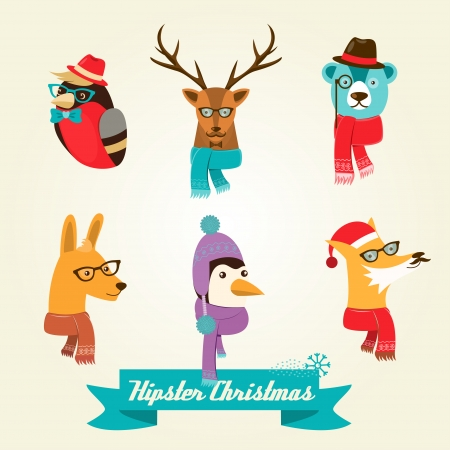 Christmas hipster animals  Vector illustration