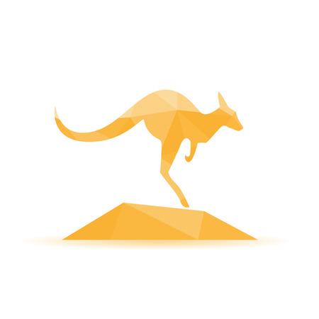 roo: Kangaroo silhouette - vector illustration,abstract geometry