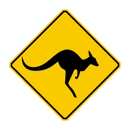 hazard symbol: Kangaroo warning sign  Yellow sign
