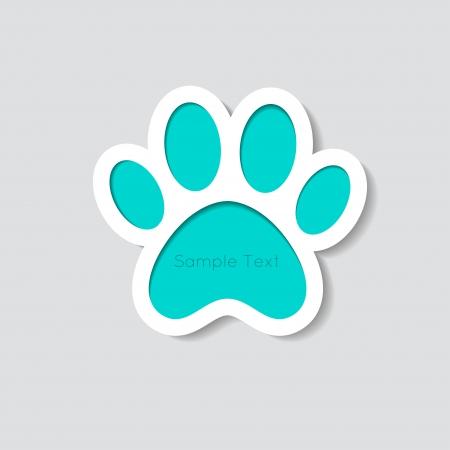 cat paw: Cat paw banner - vector illustration