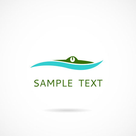 Label with Alligator - vector illustration Vector