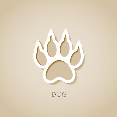 dog paw banner - vector illustration Иллюстрация