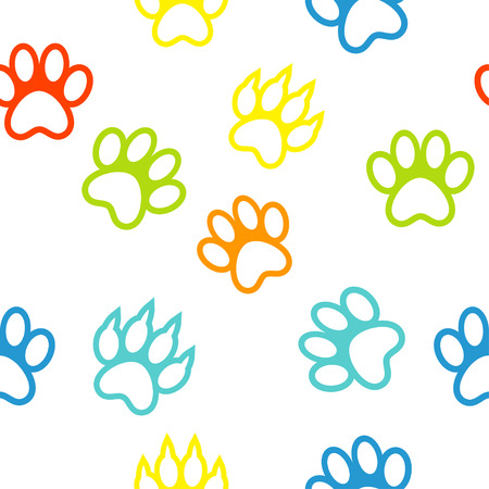 lion dog: colored pattern with paw prints dog  cat