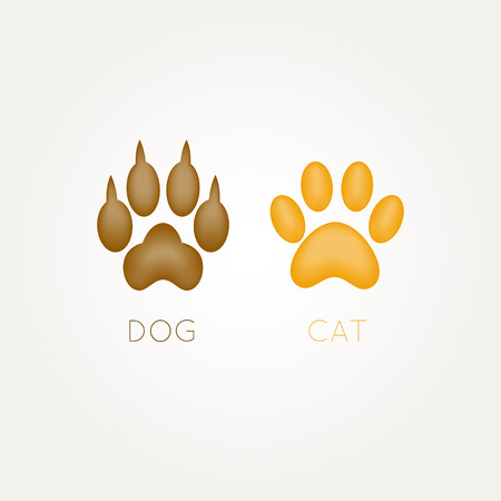 Cat and dog paw - vector illustration Иллюстрация