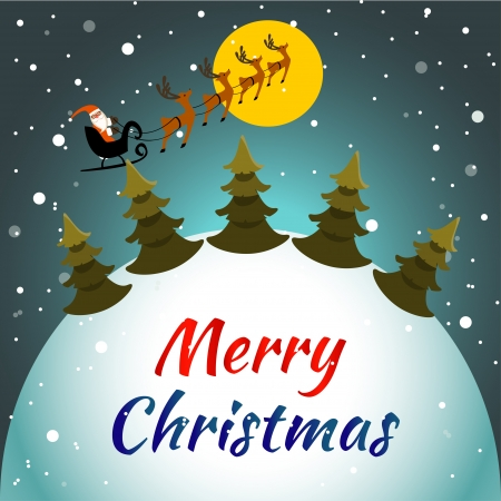 Vector with Santa Claus flying his sleigh through the night sky  Layered file for easier editing  Vector