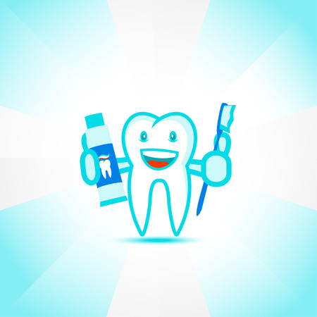 a tooth are beautiful: illustration of Cartoon tooth holding a toothbrush and toothpaste
