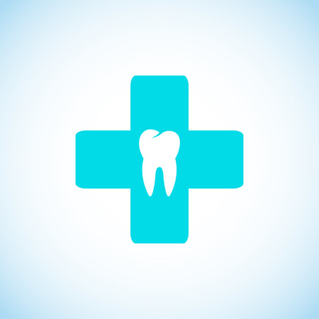 Dental symbol with tooth and cross - vector illustration Vector