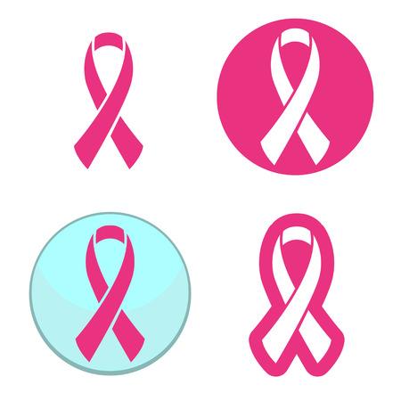 유방암 인식을위한 핑크 리본 심볼의 벡터 세트 일러스트