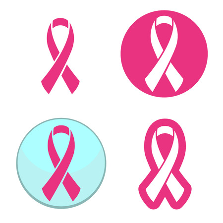 cancer ribbons: Vector set of pink ribbons symbols for breast cancer awareness