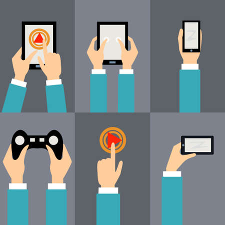 Vector set of flat icons - mobile phone, tablet pc, button, joystick, navigator Vector