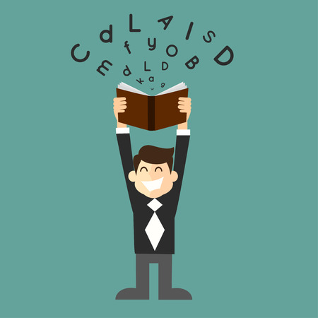 businessman student with a book in hand Ilustracja
