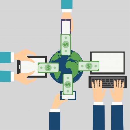온라인 뱅킹 개념의 벡터 만화는 스마트 폰, 컴퓨터, 태블릿, 휴대 전화를 통해 돈을 보내기