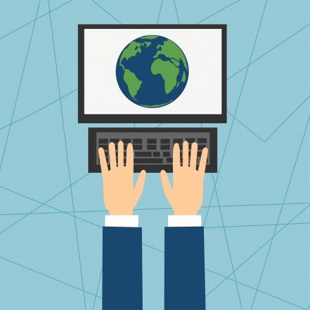 인터넷상의 컴퓨터에 앉아 일러스트