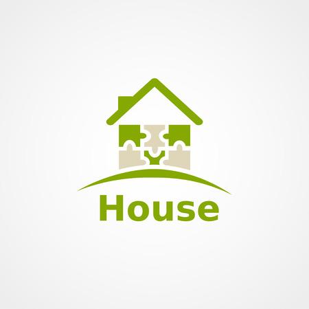 흰색, 퍼즐 집에 녹색 홈 아이콘