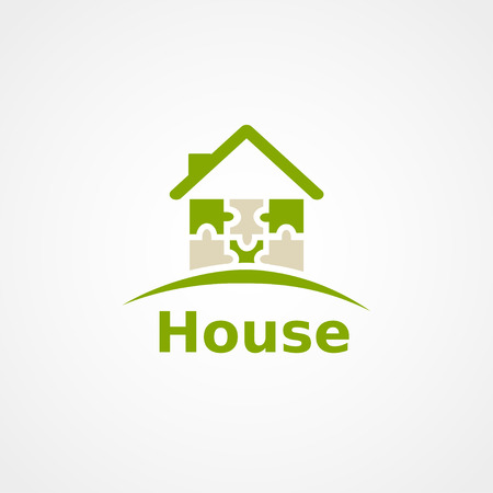 blue roof: Green home icon on white , puzzle house