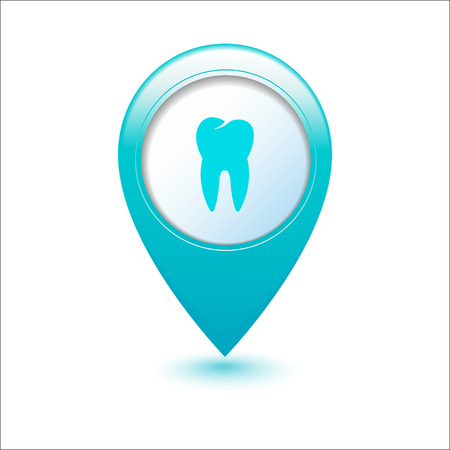 abstract tooth: Dental clinic icon on blue  map pointer  Illustration