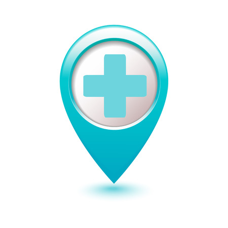 map pointer: Medical icon cross on blue index cards