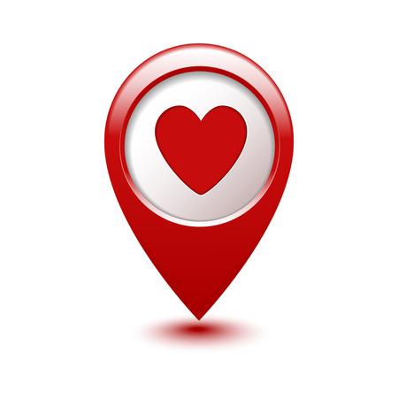 corazon: Los marcadores del mapa con la ilustración del corazón del icono del vector