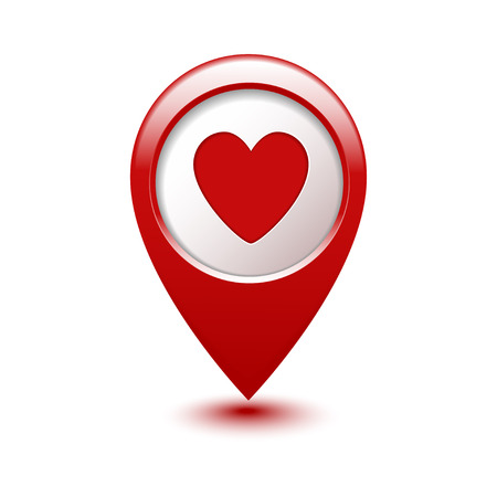 shapes: Map pointer with heart icon  Vector illustration