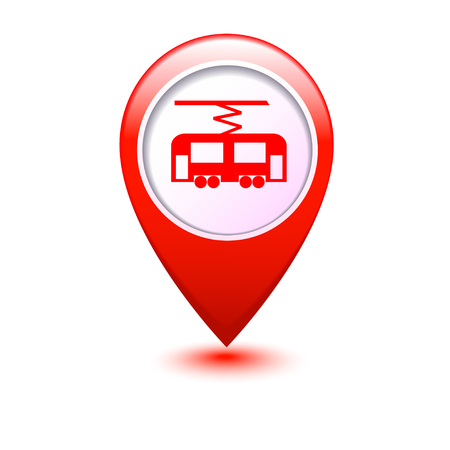 trams: Map pointer with tram icon  Vector illustration Illustration