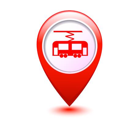streetcar: Mapa del puntero con el tranv�a icono ilustraci�n vectorial