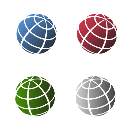 red earth: Isometric earth globes set different colors on a white background