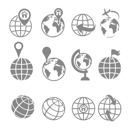 Globe earth icons set on white background Иллюстрация