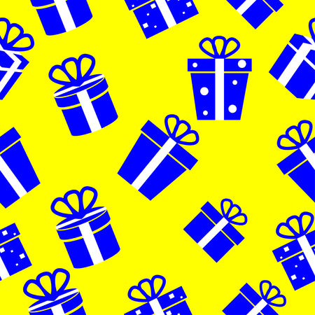 Seamless vector Gift pattern, blue gift boxes on yellow background Vector