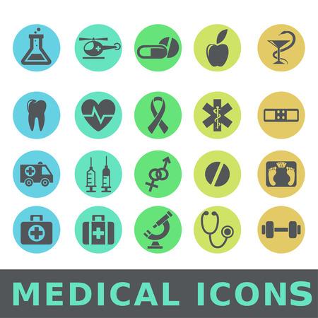 emergency kit: Medical icons set Vector