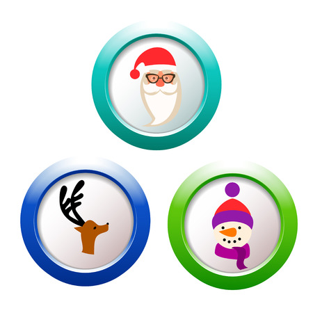 Santa Claus, reindeer and snowman buttons Vector