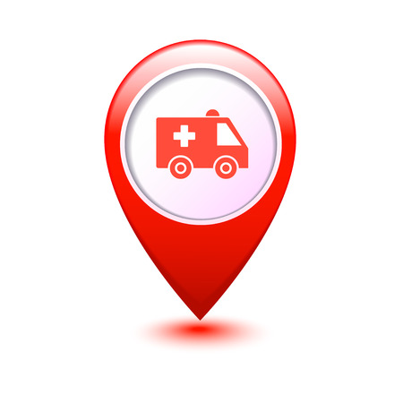 Map marker with icon of a ambulance