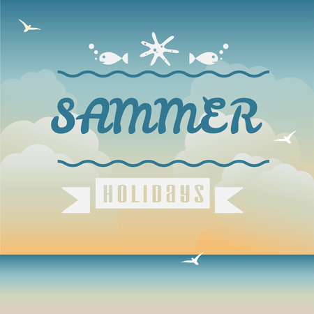 say hello: Say Hello to Summer, creative graphic message for your summer design  Illustration
