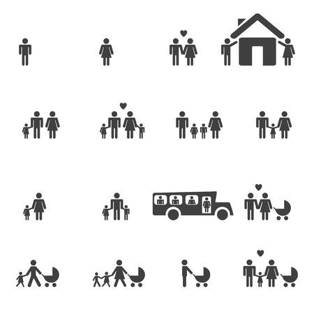 사람들이 가족 픽토그램 세트 웹 아이콘