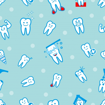 illustration of tooths on a blue background Vector